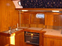 Alfa Yachts - A roomy and workable galley with plenty of storage space