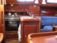 Bavaria 34 sailing yacht for sale - the interior - salon and galley