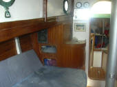 H28 Hereschoff designed boat for sale - forecabin view