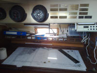 Morganlong keel  ketch - the chart table and nav station